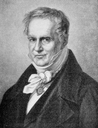 Portrait of Friedrich Wilhelm Heinrich Alexander von Humboldt Prussian geographer, naturalist, explorer and exponent of Romanticism founder of biogeography Stock Photo