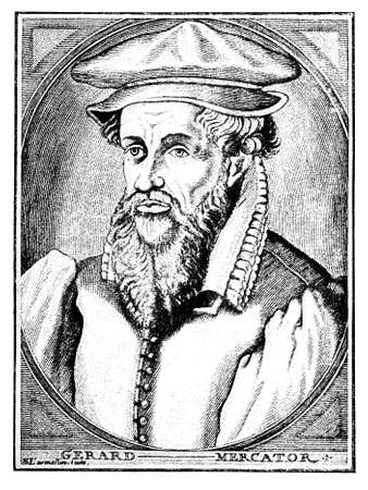 Portrait of Gerardus Mercator, german-flemish carthografer,created in 1569 the first world map with a new projection still employed in nautical charts Stock Photo