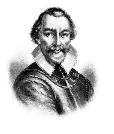 Portrait of Sir Martin Frobisher, english seaman, pirate and explorer, gave his name to the Frobisher bay in Northern Canada in XVI century