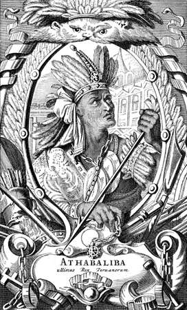Portrait of Atahualpa, Inca Emperor defeated and killed by Francisco Pizarro in the Spanish conquest in XVI century
