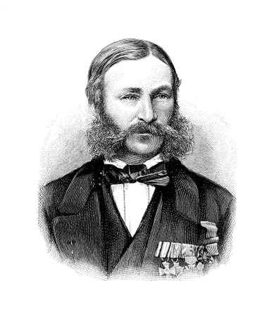 Portrait of Heinrich Barth, scholar and great German explorer of Africa in XIX century Stock Photo