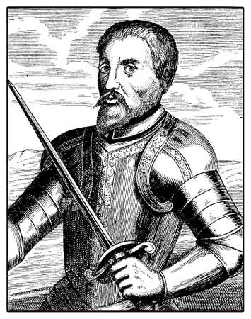 Portrait of Hernando de Soto, spanish explorer and conquistator, led the first European expedition into the territory of North America, crossing the Missisipi river in XVI century