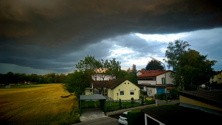 Garching, Germany - summer storm in Bavarian countryside, climate change. Stock Photo