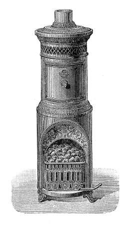 Coal burning stove, as heating device, XIX century