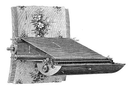 Rolling metalworking mechanism to print pattern on fabric with many colors, XIX century Stock Photo