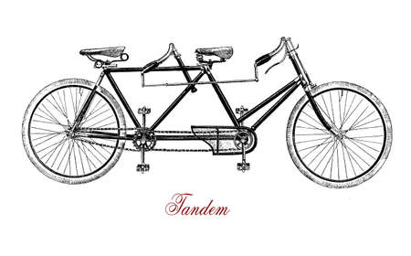 Tandem, bike for two, XIX century engraving Stock Photo