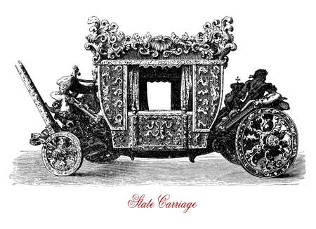 Vintage engraving of State carriage, coach owned by a state for royal use, often seen for state visits, royal weddings and other high ceremonial events