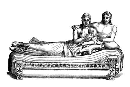 Sarcophagus of the Spouses, made in terracotta in VI century BC, masterpiece of Etruscan art from Caere (today Cerveteri),represents a married couple banqueting together in the afterlife Stock Photo