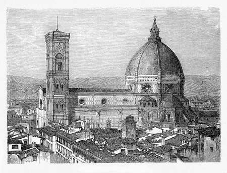 Florence cathedral with the free standing Giottos campanile and Brunelleschi dome, built in XIV century in Florentine Gothic style