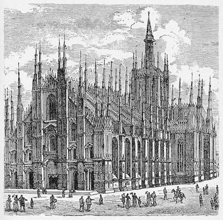 Milan cathedral in Gothic style, immense Renaissance building, third largest church in the world. The basilica construction took almost six centuries and was consecrated in XVI century.