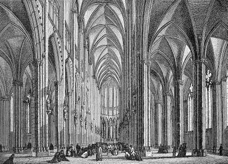 Cologne cathedral, majestic interior iin gothic style, vintage engraving