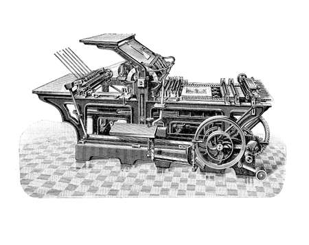 Hugo Koch printing press machine for printing and publishing production, XIX century illustration