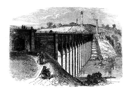 Vintage engraving of High Bridge,originally a stone arch bridge built in 1848 as part of Croton Aqueduct, the oldest bridge in New York City - Bronx,140 ft.(43 mt) high on the Harlem River near the High Bridge Water Tower.