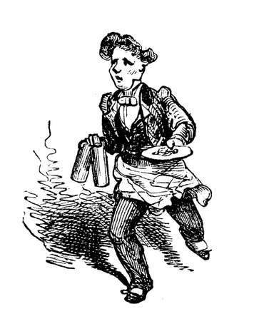 Vintage caricature of waiter running with two mugs and a plate Stock Photo