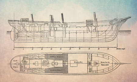 Ships construction plans of Austro-Hungarian three-masted schooner Tegetthoff  for the North Pole expedition in year 1872 Stock Photo