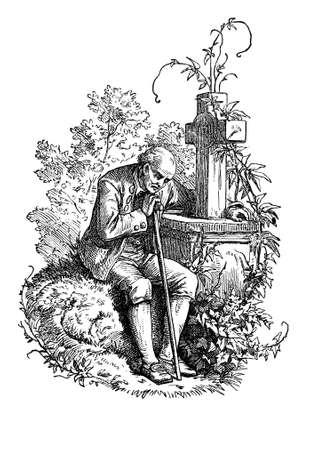sorrow: eldery vidow on the grave of his death wife, vintage engraving