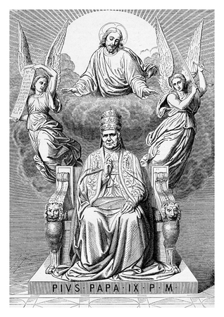 Allegorical apotheosis of Pope Pius IX on his throne, surrounded by angels and Jesus Christ, vintage engraving