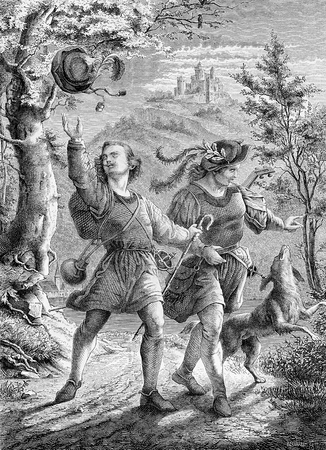 The wanderers, two happy joung men walk with dog in an idyllic landscape, vintage engraving Editorial