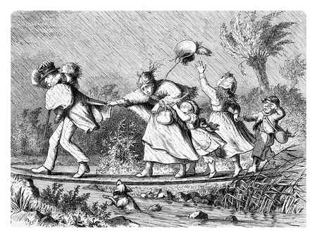 Family at the first spring excursion under the rain, vintage engraving Editorial