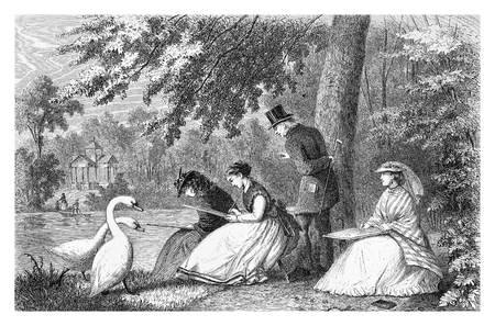 Three young women, dilettante artists, sketch open air sitting on the river edge, followed by a teacher and two swans, vintage engraving Editorial
