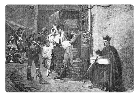 Vintage engraving, travellers at the post station waiting for the coach in a Spanish village