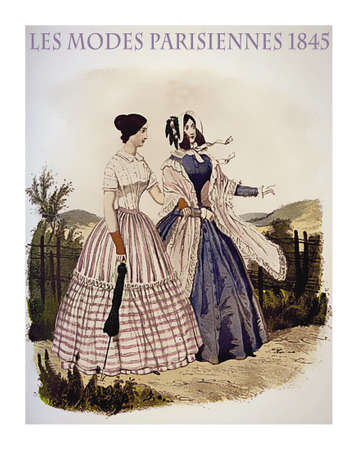 1845 vintage fashion, French magazine Les Modes Parisiennes presents two ladies walking leisurely outdoor with fancy cloths and parasol