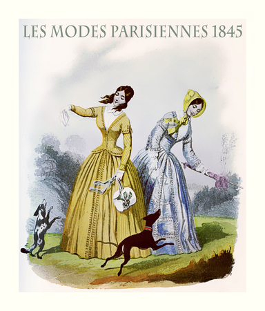 1845 vintage fashion, French magazine Les Modes Parisiennes presents two young ladies with fancy cloths and elegant hats, playing leisurely outdoor with their dogs    Editorial