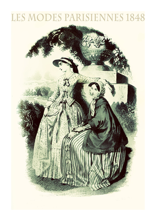 1848 vintage fashion, French magazine Les Modes Parisiennes presents two young ladies in languid pose outdoor in a beautiful park with fancy cloths and elegant hats