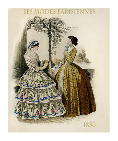 1850 vintage fashion, French magazine Les Modes Parisiennes presents two ladies chatting leisurely outdoors with fancy cloths and hairdressing