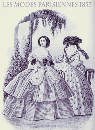 1857 vintage fashion, French magazine Les Modes Parisiennes presents two young ladies  outdoors in garden with fancy cloths, frills and bows