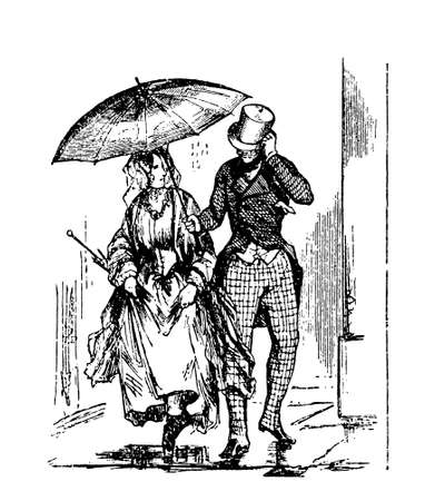 vintage engraving:  lady and  gentleman  outdoor  with raining weather, the man with top hat  holding an umbrella for the young woman
