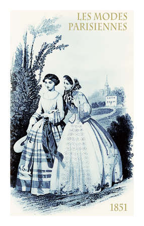 1851 vintage fashion, French magazine Les Modes Parisiennes presents two young ladies walking and chatting in the countryside with fancy cloths, elegant hats and scarf
