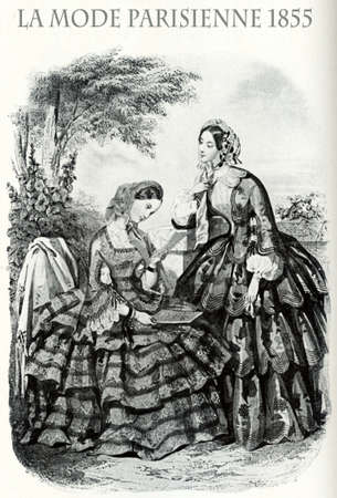 1855 vintage fashion, French magazine La Mode Parisienne presents two ladies  leisurely outdoor with fancy cloths and elegant hats