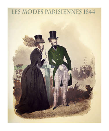 1844 vintage fashion, French magazine Les Modes Parisiennes presents a  lady and a gentleman  outdoor, with fancy cloths and fashionable hats