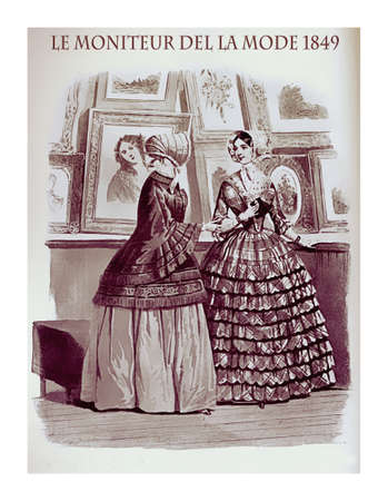 1849 vintage fashion, French magazine  Le Moniteur de la Mode presents two young ladies at a painting exhibition with fancy flounced skirts and elegant bonnets Stock Photo
