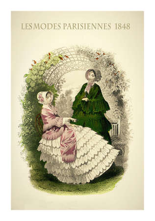 1848 vintage fashion, French magazine Les Modes Parisiennes presents two ladies chatting leisurely outdoor in a beautiful garden with fancy cloths and elegant hats