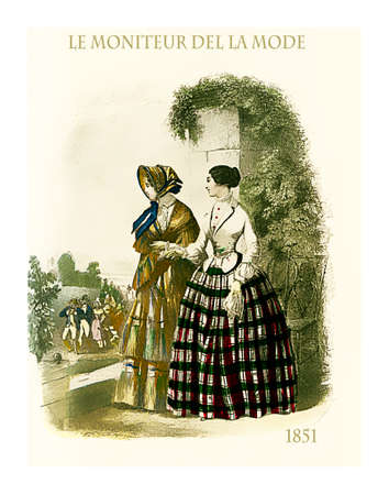 1851 vintage fashion, French magazine Le Moniteur de la Mode presents two ladies outdoor in a beautiful garden with fancy cloths and coats Stock Photo