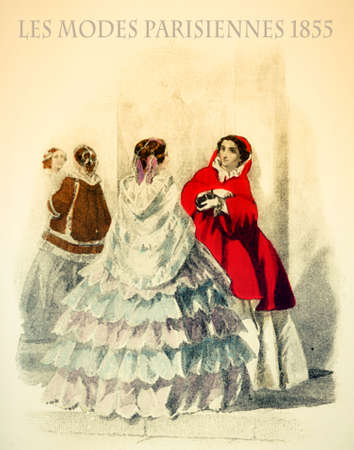 1855 vintage fashion, French magazine Les Modes Parisiennes:fashionable ladies chatting outdoors with fancy flounced skirts and elegant capes and shawls Stock Photo