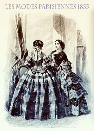1855 vintage fashion, French magazine Les Modes Parisiennes presents two young ladies in a beautiful salon with fancy flounced skirts and elegant hairdressing