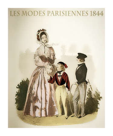 1844 vintage fashion, French magazine Les Modes Parisiennes presents a young lady with two kids  outdoor, with fancy cloths and fashionable hats Editorial
