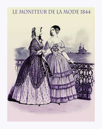 1844 vintage fashion, French magazine Le Moniteur de la Mode presents two ladies walking leisurely outdoor near the sea with fancy cloths  Editorial