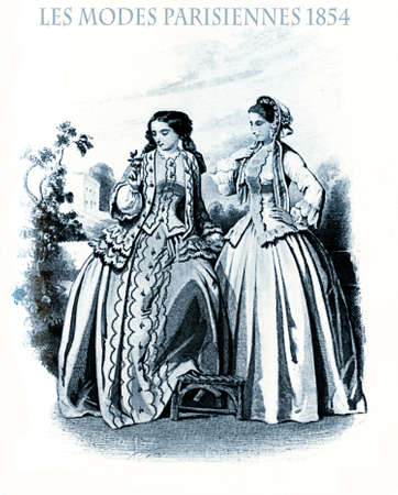 1854 vintage fashion, French magazine Les Modes Parisiennes presents two ladies walking leisurely  in garden with fancy cloths and hairdressing
