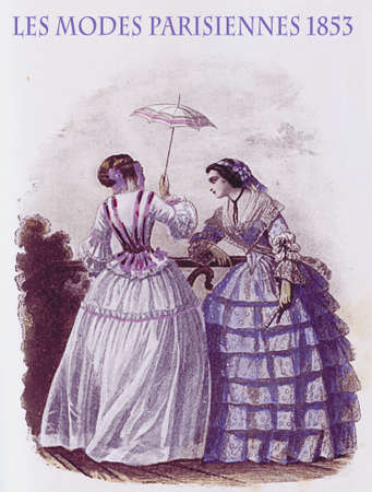 1853 vintage fashion, French magazine Les Modes Parisiennes presents two young ladies chatting leisurely outdoors with fancy cloths and parasol Editorial