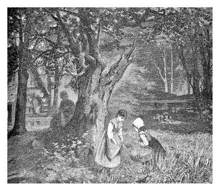 Rural landscape, wood with old wooden mill, girls picking flowers and a shy kid spying them, vintage engraving Stock Photo