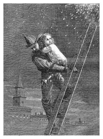 firefighter rescues a baby girl from fire and flames, engraving from XIX century