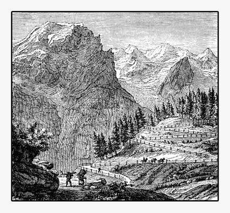 Panoramic view of mountain route and the Ortler, the highest mountain in Eastern Alps, vintage engraving