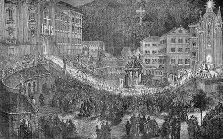 XIX century engraving, religious festive procession at night in Einsiedel, Germany