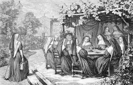 Nuns enjoy the warm weather sitting outside in cloister garden, vintage engraving