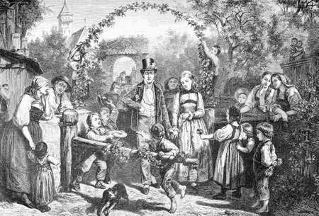 Germany countryside, rural marriage, XIX century engraving  Stock Photo