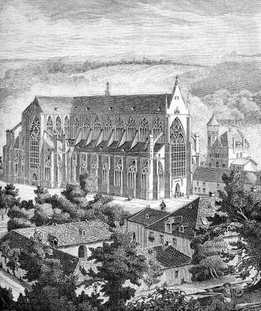 Germany, Altenberg cathedral, magnificent medieval building in gothic style, XIX century engraving